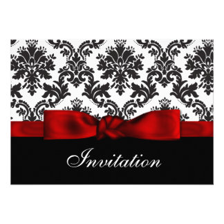 Röd damastast bröllopinbjudan