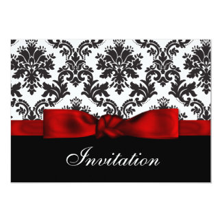 Röd damastast bröllopinbjudan 12,7 x 17,8 cm inbjudningskort