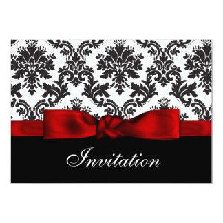 Röd damastast bröllopinbjudan anpassade inbjudan