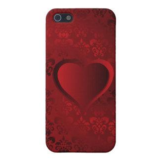 Röd damastast hjärta iPhone 5 cases