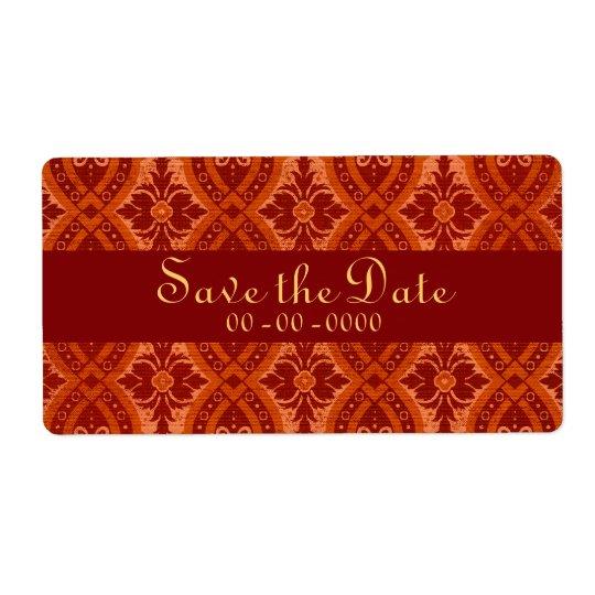 Röd damastast märkes- etikett för vintageRuby Fraktsedel