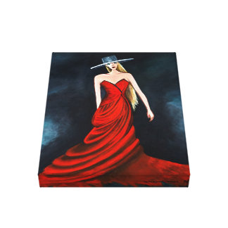 Röd Diva som målar unik flamencodansarekonst Canvastryck