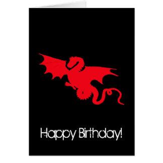 Röd drake på svart grattis på födelsedagen hälsningskort