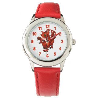 Röd draketecknad för våldsam lite walesisk baby armbandsur