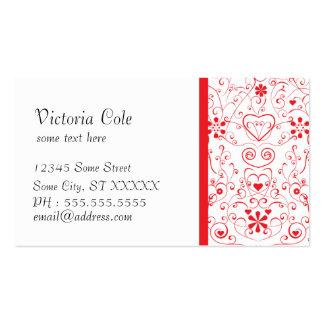 Röd elegant vit set av standard visitkort