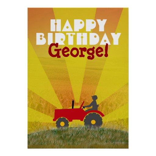 Röd eller grön traktorfödelsedagaffisch affischer