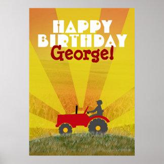 Röd eller grön traktorfödelsedagaffisch poster