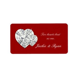 Röd etikett för hjärtasmyckenbröllop adressetikett