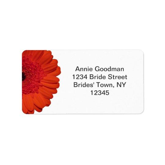 Röd etikett för returadress för Gerber daisybröllo Adressetikett