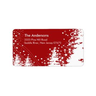 Röd etikett för returadress för plats för adressetikett
