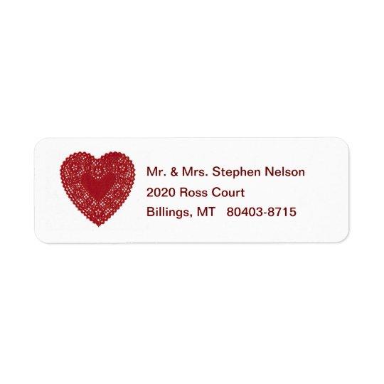 Röd etikett för returadress för snöreDoilyhjärta Returadress Etikett