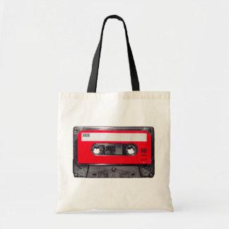 röd etikettkassett för 80-tal budget tygkasse