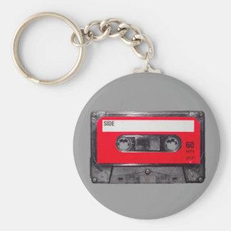 röd etikettkassett för 80-tal rund nyckelring