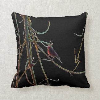 Röd fågel i grenar på svart kudde