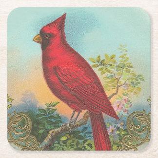 Röd fågel underlägg papper kvadrat