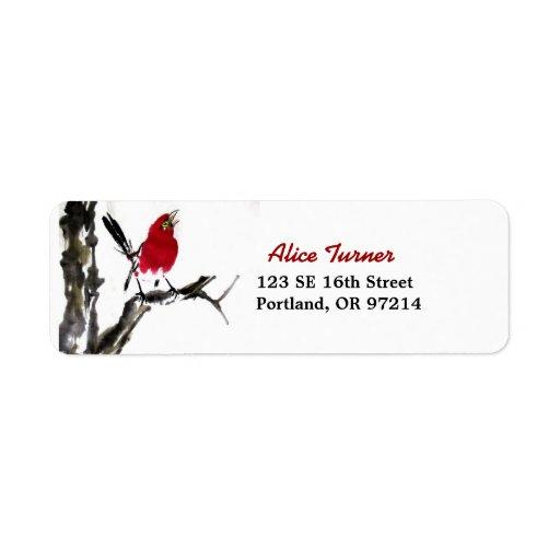 Röd fågelreturadressetikett returadress etikett