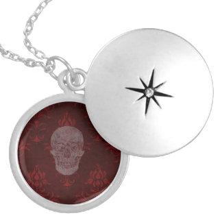 Röd Falln Victoriandöskallar Halsband Med Rund Berlock