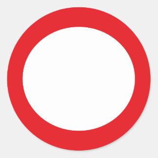Röd färg cirklar enkel anpassadedesign runt klistermärke