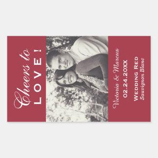 Röd favör för flaska för bröllopfotovin rektangulärt klistermärke