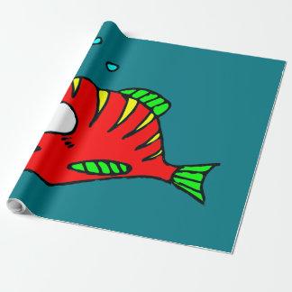 Röd fisk presentpapper