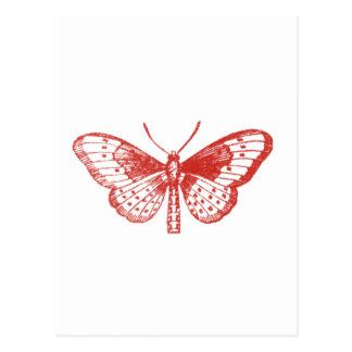 Röd fjäril vykort