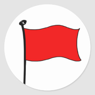 Röd flagga: (lilla) klistermärkear, runt klistermärke