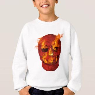 Röd flammande skalle t-shirt