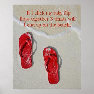Röd flinflip flops för Ruby Poster