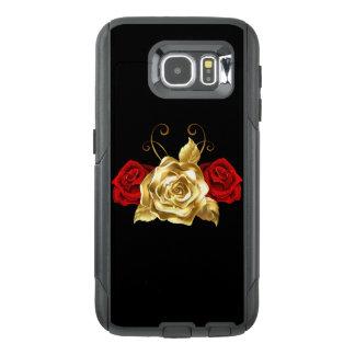 Röd & för celltelefon för guld rosa fodral