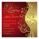 Röd & för guld 80th födelsedagsfest inbjudan