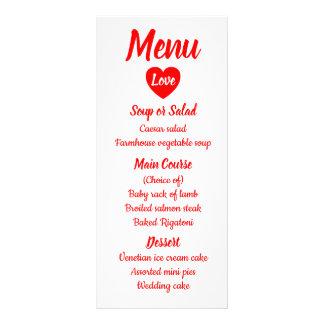Röd & för vitkärlekhjärta för meny bröllopsfest