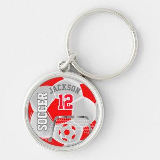 Röd & för vitlagfotboll boll rund silverfärgad nyckelring
