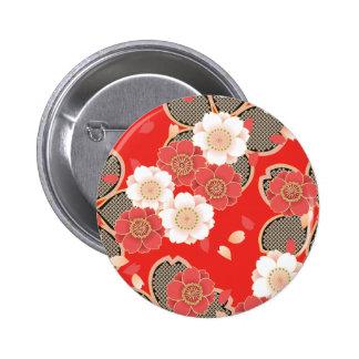 Röd & för vitSakura japan Kimono Standard Knapp Rund 5.7 Cm