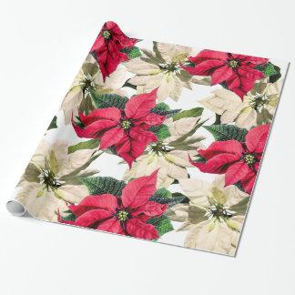 Röd & för vitvinterjulstjärna för blomma för gåva presentpapper