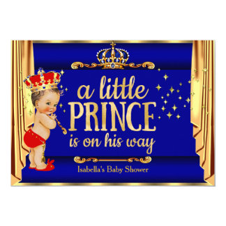 Röd förhängePrince baby shower för kungliga blått 12,7 X 17,8 Cm Inbjudningskort