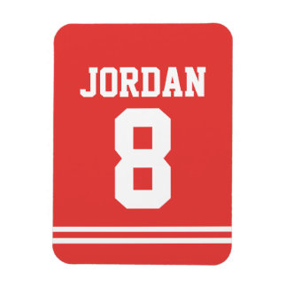 Röd fotboll Jersey med numrerar Magnet