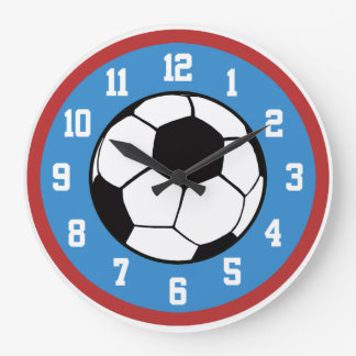 Röd fotboll och blått stor klocka