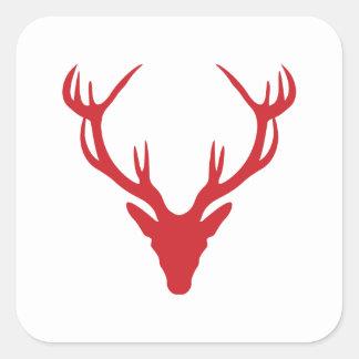 Röd fullvuxen hankronhjorthuvudjul eller svensexa fyrkantigt klistermärke