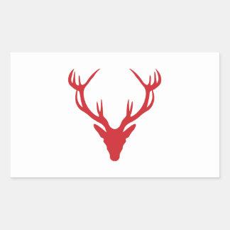 Röd fullvuxen hankronhjorthuvudjul eller svensexa rektangulärt klistermärke