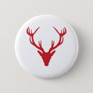 Röd fullvuxen hankronhjorthuvudjul eller svensexa standard knapp rund 5.7 cm