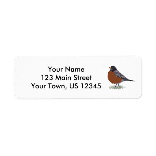 Röd gådd mot amerikanRobin Digital dragen fågel Returadress Etikett