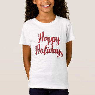 Röd glad helg för julglittertext t shirt