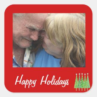 Röd glad helg tillfogar dina egna fyrkantigt klistermärke