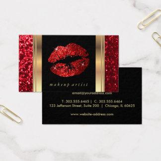Röd glitterläppar och elegantt guld visitkort