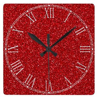 Röd glitterstruktur för färgrik bröllopsdag fyrkantig klocka