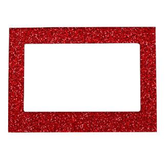Röd glitterstruktur för färgrik bröllopsdag magnetisk fotoram
