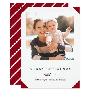 Röd god jul och vit görar randig fotokortet 12,7 x 17,8 cm inbjudningskort