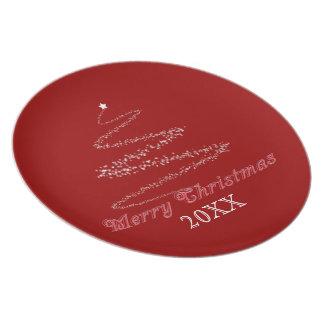 Röd god jul pläterar mallen tallrik