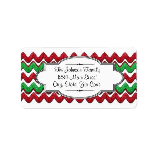 Röd grön etikett för sparresicksackadress, jul adressetikett