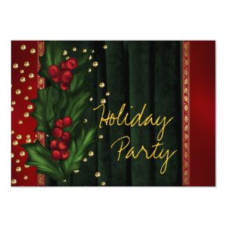 Röd grön företags julfest 12,7 x 17,8 cm inbjudningskort